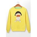 Chibi Maruko Chan Fashion Comic Figure Printed Casual Loose Long Sleeve Pullover Sweatshirt