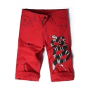 Guys Stylish Snake Printed Destroyed Ripped Rolled-Cuff Straight Fit Red Denim Shorts