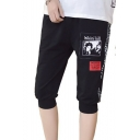 Mens Fashion Letter Side Graphic Printed Drawstring-Waist Casual Sport Cropped Sweatpants