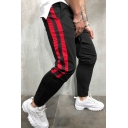 New Trendy Colorblocked Stripe Side Drawstring Skinny Pencil Pants for Guys