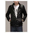 Men's Trendy Band Collar Long Sleeve Zip Placket Slim Leather Jacket Biker Jacket