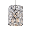 Modern Pendant Lighting for Dining Room, Clear Crystal Adjustable Cylinder Pendant Lighting in Nickle with 39