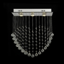 Contemporary Rectangle Canopy Chandelier 4 Lights Clear Crystal Ceiling Light  in Chrome