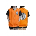 Dragon Ball Cosplay Fashion Print Short Sleeve Colorblock Zip Placket Hoodie