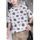 Trendy Allover Cartoon Cat Pattern Half-Sleeved Loose Fit White T-Shirt
