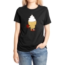 Cartoon Ice Cream Pattern Round Neck Short Sleeve Casual Cotton Tee for Women