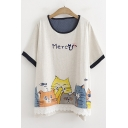 Summer Funny Cartoon Cat Letter MERCY Round Neck Relaxed T-Shirt