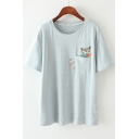Summer Cute Cat Pocket Short Sleeve Round Neck Classic Stripe T-Shirt