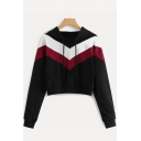 Stylish Colorblock Long Sleeve Cropped Drawstring Hoodie