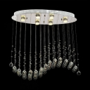 Modern Chrome Flush Mount with Sphere 6/8 Lights Clear Crystal Chandelier