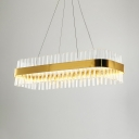 Living Room Rectangle Light Fixture Clear Crystal Contemporary Height Adjustable Gold Chandelier with 59