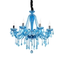 Tapered Living Room Chandelier Clear Blue Crystal 6 Lights Rustic Light Fixture with 12