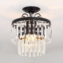 3/5 Lights 2 Tiers Semi Flush Mount Lighting Vintage Style Clear Crystal Ceiling Light Fixture in Black/Gold