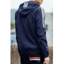 Guys Fashion Stripe Printed Long Sleeve Hooded Zip Up Sport Athletic Jacket
