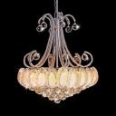 Traditional Gold/Silver Pendant Lighting with Bowl 8 Lights Clear Crystal Chandelier with Hanging Chain