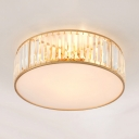 Contemporary Drum Ceiling Lighting Clear Crystal 3/4/5 Lights Flush Mount Light Fixture for Bedroom