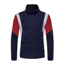 Hot Fashion Color Block Long Sleeve Mens Turtleneck Slim Fit Basic Sweater
