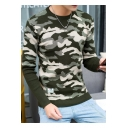Spring New Fashion Camouflage Printed Crew Neck Guys Slim Pullover Sweater
