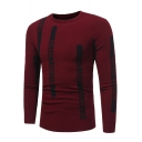 Simple Unique Letter Stripe Mens Jacquard Round Neck Long Sleeve Fitted Casual Sweater