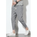 Guys Summer Simple Plain Drawstring Waist Rolled Cuff Tapered Trousers Chino Pants