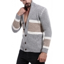 Men's New Stylish Colorblock Stand-Collar Button Down Marled Fit Cardigan