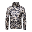 Fashion Auspicious Cloud Pattern Long Sleeve Mens High Neck Basic Warm Jumper Sweater