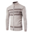 Men's New Trendy Geometric Printed Stand Collar Slim Fit Zip Up Cable Knit Cardigan