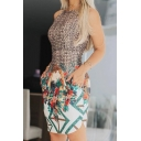 Stylish Floral Printed Round Neck Sleeveless Mini Bodycon Dress with Double Pockets