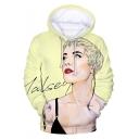 New Stylish Popular American Singer 3D Figure Sketch Light Yellow Hoodie