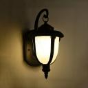 Vintage Lantern Landscape Light Waterproof Milky Glass Wall Lighting in Warm/White for Front Door