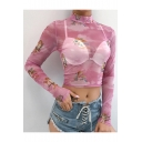 Sexy Transparent Mesh Mock Neck Long Sleeve Cute Angel Baby Printed Cropped T-Shirt