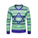 Fashion 3D Geometric Star Printed Long Sleeve Mens V-Neck Fitted T-Shirt