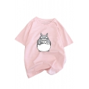 Lovely Totoro Stripes Printed Short Sleeve Loose Fit Cotton T-Shirt