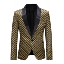 Trendy Allover Printed Single Button Long Sleeves Shawl-Collar Gold Tuxedo Jacket for Men