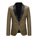 Trendy Allover Printed Single Button Long Sleeves Shawl-Collar Gold Tuxedo Jacket for Men