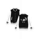 Trendy American Rapper Portrait Print Rib Stand Collar Button Closure Unisex Varsity Jacket Baseball Jacket