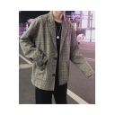 Retro Fashion Plaid Printed Notched Lapel Long Sleeves Double-Button Loose Mens Blazer Coat with Pockets