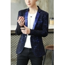 Stylish Lightning Pattern Long Sleeve Notched Lapel Collar Single Button Suit Blazer for Men