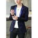 Stylish Lightning Pattern Long Sleeve Notched Lapel Collar Single Button Suit Blazer for Men