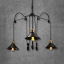Industrial Cone Chandelier Metal 3 Lights Black Hanging Pendant with Adjustable Cord for Living Room