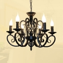 6/8 Lights Candle Chandelier Antique Metal Hanging Pendant in Black/White/Blue/Bronze