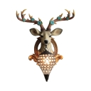 Foyer Teardrop Wall Lamp Clear Crystal Antique Sconce Light with Deer Decoration