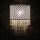 White Drum Pendant Lighting with Clear Crystal Decoration Single Head Modern Lighting Fixture
