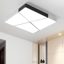 Contemporary Geometric Pattern Ceiling Light Metal LED Flush Light Fixture in Black and White for Study Room