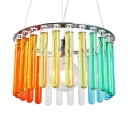 Kid Pendant Light with Drum Shade Colorful Crystal Single Light Drop Light with 71