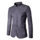 Men's Chinese Style Plain Single-Breasted Stand Collar Long Sleeve Wedding Blazer Suit for Groom