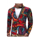 Ethnic Printed Long Sleeve Single Button Split Back Mens Casual Linen Blazer Coat