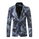 Men's Fashion Camo Print Long Sleeve Notched Lapel Double Button Slim Blazer Suit
