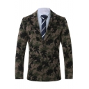 Mens Stylish Camo Printed Long Sleeve Notched Lapel Button Front Wool Blazer Coat