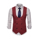 New Trendy Houndstooth Printed Double Breasted Belt Design Mens Waistcoat